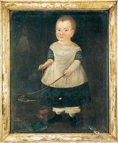 Sold at Auction: $82,500  William Matthew Prior, Folk Art  Oil painting, portrait of a child