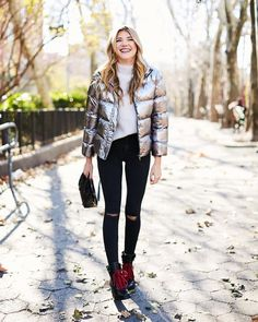 See how girls are styling the Who What Wear Boxy Metallic Puffer Jacket at Target, then shop it for yourself!