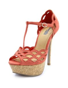 Scalloped T-strap cork heel Why don't these come in pink! I guess coral is close enough...