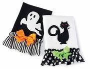 Mud Pie Halloween Black Cat and Ghost Tea Towels Set