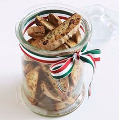 Nigella Lawson's cranberry and pistachio biscotti. For the full edible Christmas gift recipe, click the picture or see http://www.redonline.co.uk