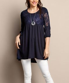 Look what I found on #zulily! Navy Lace-Bodice Tunic - Plus #zulilyfinds