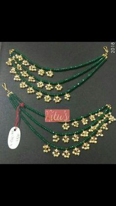 Champasaralu Jewelry Design Earrings, Gold Earrings Designs, Gold Jewellery Design, Ear Jewelry, Bead Jewellery, Bridal Jewelry, Gold Jewelry, Antique Jewellery Designs, Beaded Jewelry Designs