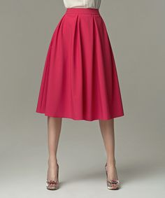 Look at this Fuchsia Pleated A-Line Skirt on #zulily today!
