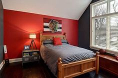 Red and grey bedroom paint red color bedroom walls red walls in bedroom striking red accent . red and grey bedroom paint Bedroom Red, Accent Wall Bedroom, Red Kids Rooms, Boy Room Red, Boys Bedroom Paint, Bedroom Wall, Black And Grey Bedroom, Grey Bedroom Paint, Red Rooms