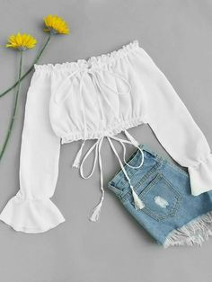 Shop Off Shoulder Drawstring Split Blouse online. ROMWE offers Off Shoulder Drawstring Split Blouse & more to fit your fashionable needs. Girls Fashion Clothes, Teen Fashion Outfits, Mode Outfits, Outfits For Teens, Girl Outfits, Teen Clothing, Clothes Women, Ootd Fashion, Womens Fashion