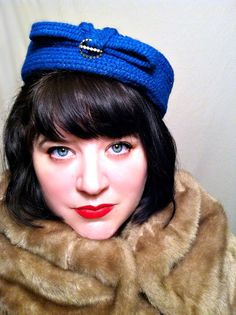 Vintage Hat  Vintage 1950s hat Royal Blue by ConstantlyAlice, $16.00