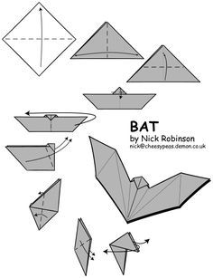 Bat origami for decorating or for craft...                                                                                                                                                                                 More