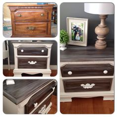 Night stand makeover.  Made my own chalk paint using BM decorators white, then waxed with Minwax finishing paste.  Sanded drawers and stained first with earl grey tea, then steel wool and vinegar mixture.  I watered down some grey paint and streaked it over the stain then sealed them with Minwax Polycrylic in Clear Satin.