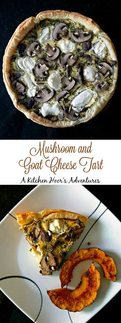 Earthy mushrooms pair perfectly with puff pastry and goat cheese in this #meatfree, Mushroom and Goat Cheese Tart. Prep the vegetables the day before to make this a simple and easy brunch or #SundaySupper meal.