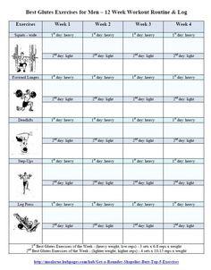 Best Glutes Exercises for Men Workout Routine - Free Printout Log