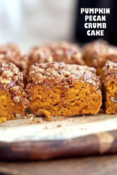 Vegan Pumpkin Coffee Cake with Pecan Crumb. Easy 1 Bowl Pumpkin Cake, topped with Chai Spice Pecan Streusel. Just 15 mins prep. Soft, Spiced, Delicious. Vegan Soy-free Recipe
