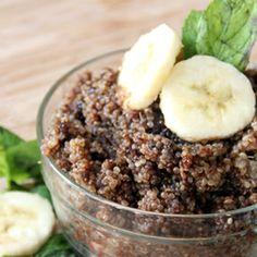 Chocolate Banana Breakfast Quinoa. Added an extra banana and some walnuts.