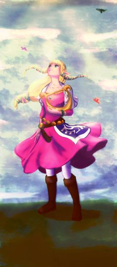 Zelda from Skyward sword. This is chronologically the very first Zelda, before she is even known as a princess. This Zelda is tough fearless and outspoken which makes sense since she's the mortal reincarnation of a goddess.