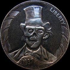 Hobo Nickel, Coin Art, Bullion Coins, Three Dimensional, Carving, Money, Skeletons, Skulls, 2d