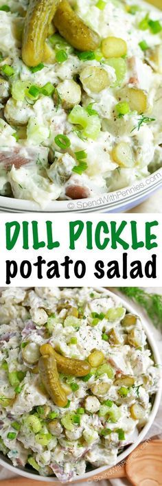 This Dill Pickle Potato Salad isdeliciously andloaded with crunchy dill pickles in a zestydill pickle juice infused dressing! This potato salad makes dill pickles the star of the dish making a sidethat's going to be the hit ofany summer bbq!