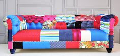 blue & pink chesterfield patchwork sofa by namedesignstudio - great idea for any couch or armchair Patterned Furniture, Funky Furniture, Patchwork Sofa, Patchwork Ideas, Old Sofa, Chesterfield, Sofas, Family Room, Living Spaces