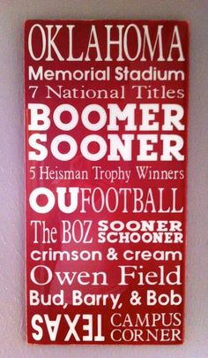 Boomer Sooner subway paint wall art decor home crimson cream team Oklahoma Football team tradition