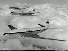 de Havilland Comet 1 G-AYLP, serial number in flight with the two comet prototypes, G-ALVG and G-ALZK in flight above clouds. All three are in the markings of B. (Ed Coates Collection) De Havilland Comet, Passenger Aircraft, Air Festival, Cargo Airlines, Military Jets, Civil Aviation, Commercial Aircraft, Aircraft Pictures, 13 March
