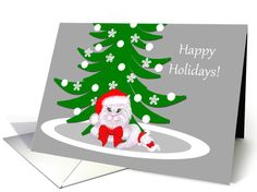 Christmas Cute White Cat and Mouse in Santa Hats card