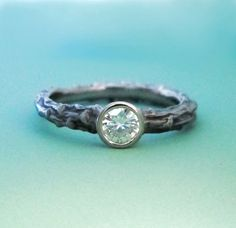 Pine Branch Twig Engagement Ring  Moissanite and 14k by esdesigns