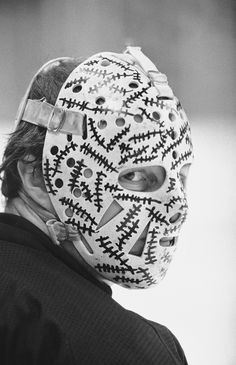 Gerry Cheevers, goalie for the Boston Bruins, in his trademark face mask