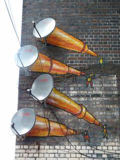 3D antenna Telescopes street art from the streets of Digbeth, Birmingham, UK.