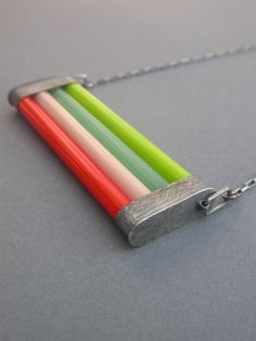 Glass & oxidized stainless necklace bright by jaimejofisher on Etsy