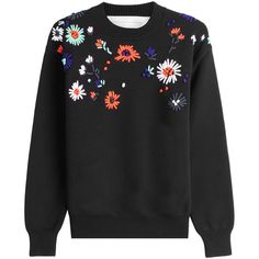 Victoria, Victoria Beckham Embroidered Flower Sweater (7885645 BYR) ❤ liked on Polyvore featuring tops, sweaters, black, loose fitting sweaters, colorful sweaters, round neck sweater, thick sweaters and multi color sweater
