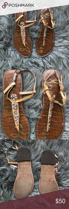 Sam Edelman Embellished T-strap Sandals Classic sam Edelman sandal with super cute embellishment! Feel free to make an offer :) Sam Edelman Shoes Sandals