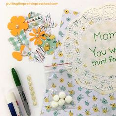 Craft supplies for an all-ages flower-themed papercraft keepsake to make for a mother or grandma. Suitable for Mother's Day or any time of the year. Scrapbook Supplies, Scrapbook Paper, Craft Supplies, Flower Activities For Kids, Keepsake Crafts, Complimentary Colors, Mothers Day Crafts, Sticker Paper, Flower Crafts