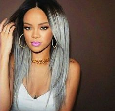 love to see rihanna with grey hair :)* Grey Hair Wig, Grey Blonde Hair, Lace Hair, Ombre Hair, Black And Grey Hair, White Hair, Grunge Hair, Silver Hair, Wig Hairstyles
