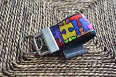 Key Fob  Autism Awareness puzzle fabric MINI fob by ctaylordesigns, $6.00