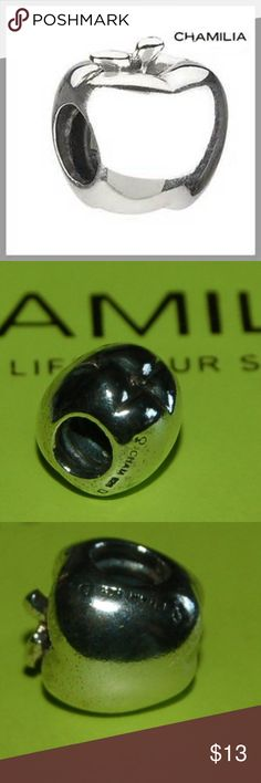 "NEW CHAMILIA ~APPLE~ TEACHER STERLING CHARM BEAD AUTHENTIC CHAMILIA ~APPLE~ STERLING SILVER CHARM BEAD (FITS PANDORA)  CHAMILIA STOCK NUMBER GF-1; MSRP $35, RETIRED STOCK, NEW WITHOUT TAGS!!  ""The gift of education is illuminated with the Apple bead. Honor the dedicated teachers with fruitful fashion."" Chamilia Jewelry Bracelets"