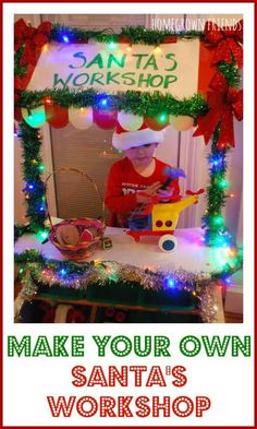 Workshop Make Your Own Santa's Workshop is the perfect Christmas activity for kids. Hours of dramatic play fun!Make Your Own Santa's Workshop is the perfect Christmas activity for kids. Hours of dramatic play fun! Noel Christmas, Winter Christmas, Christmas Themes, Father Christmas, Purple Christmas, Dramatic Play Area, Dramatic Play Centers, Preschool Dramatic Play, Christmas Activities For Kids