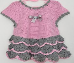 Crocheted Baby Girl Dress in Pink and Grey by KnittingbyDOGAART, $38.00