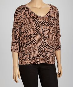 Take a look at this Black & Mocha Dolman Top - Plus on zulily today!