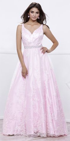 Bashful Pink V-Neck Satin Ball Gown with Lace Overlay Sleeveless #discountdressshop #pinkdresses #pink #prom2k17 #promdress #promgown #teensfashion #womenswear