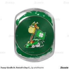 Funny Giraffe Design Glass Jar St. Patrick's Day Gift Jelly Belly Candy. Matching cards, postage stamps and other products available in the Holidays / St. Patrick's Day Category of the artofmairin store at zazzle.com