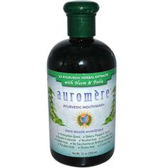 Auromere Ayurvedic Mouthwash from Ecohoot.com. Free Of Alcohol, fluoride, SLS, parabens, propylene glycol, artifical colors or sweeteners, gluten, animal testing.