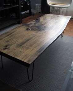 Knotty Pine Slab Table