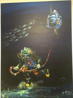 The Glorious Deep Sea Works of Richard Armstrong Scuba Diver Tattoo, Underwater Welding, Deep Sea Diver, Underwater Images, Diving Helmet, Aquarium Decorations, Navy Seals, Doodle Drawings, Betty Boop
