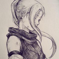 Fantasy art female adventurer character sketch