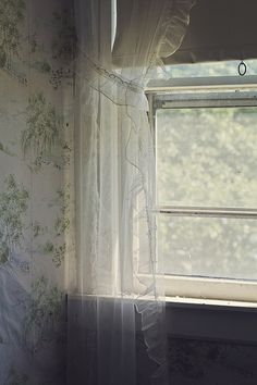 ♕ lovely wallpaper & curtained window
