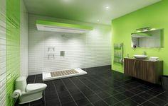 farbe badezimmer grün holz waschtischunterschrank walk-in dusche ...