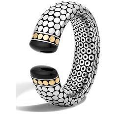 John Hardy Dot Batu Onyx Wide Kick Cuff featuring polyvore women's fashion jewelry bracelets silver 18k jewelry onyx bangle geometric jewelry john hardy jewellery cuff bangle