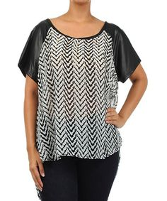 Loving this Black & White Zigzag Hi-Low Top - Plus on #zulily! #zulilyfinds