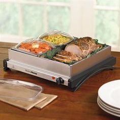 Large Non Stick 3 Section Buffet Server Food Warmer 59 00