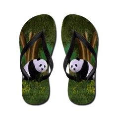sold at @CafePress : Cute #Panda #FlipFlops A Cute Panda #bear sits in a meadow under a tree. Discover a fun and charming collection for animal and nature lovers.  $16.09  thanks to the customer!