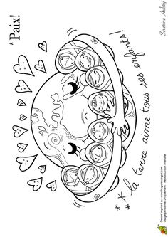 Coloring on the theme of peace, peace babies - Hugolescargot.com
